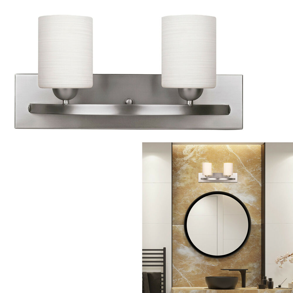 brushed nickel 2 globe vanity bath light bar interior 21175