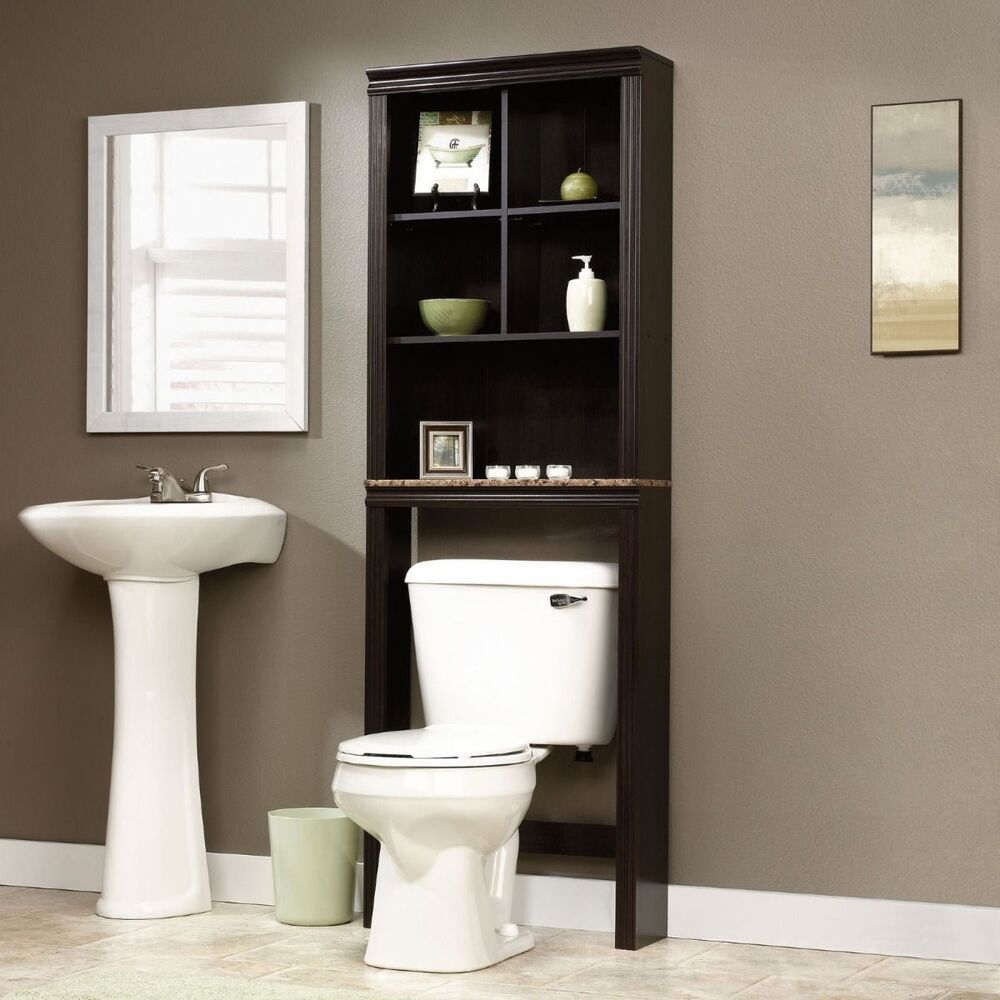 Bathroom cabinet over toilet shelf space saver storage for Over the toilet cabinet