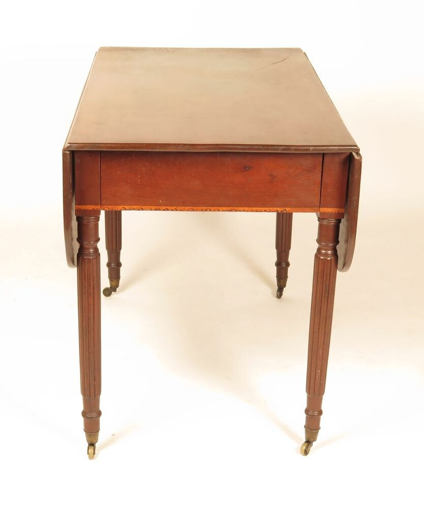 Antique pembroke table 19th c inlaid drop leaf breakfast for Table th hidden