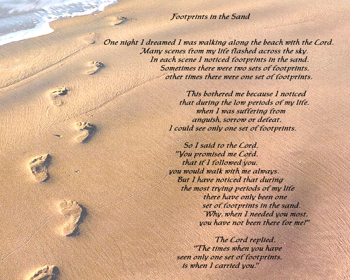 Adorable image with poem footprints in the sand printable