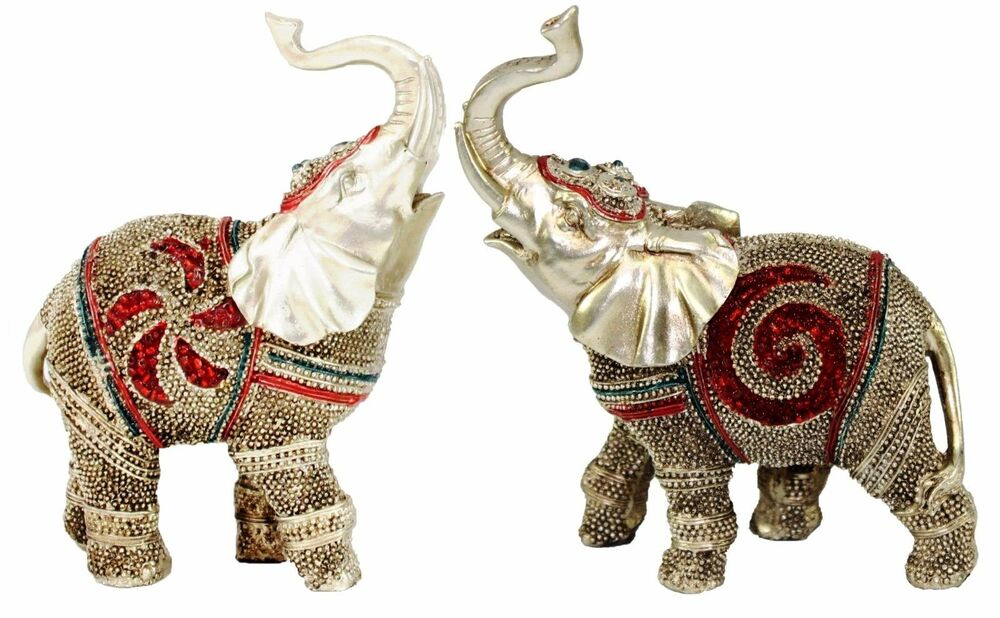 Feng Shui Pair Of 5 Elegant Elephant Statue Lucky