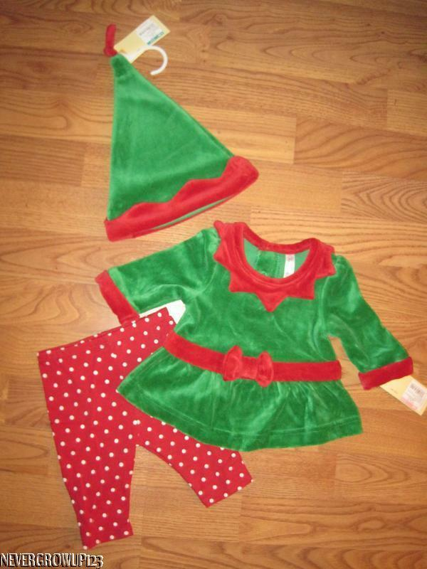 Baby girl infant green velour christmas elf suit with hat newborn 3m