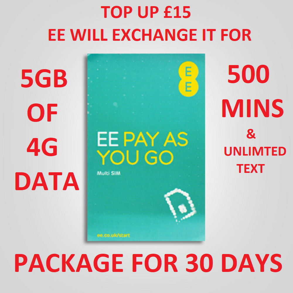 pay as you go iphone ee nano micro standard sim card for iphone pay and go 4gb 17893