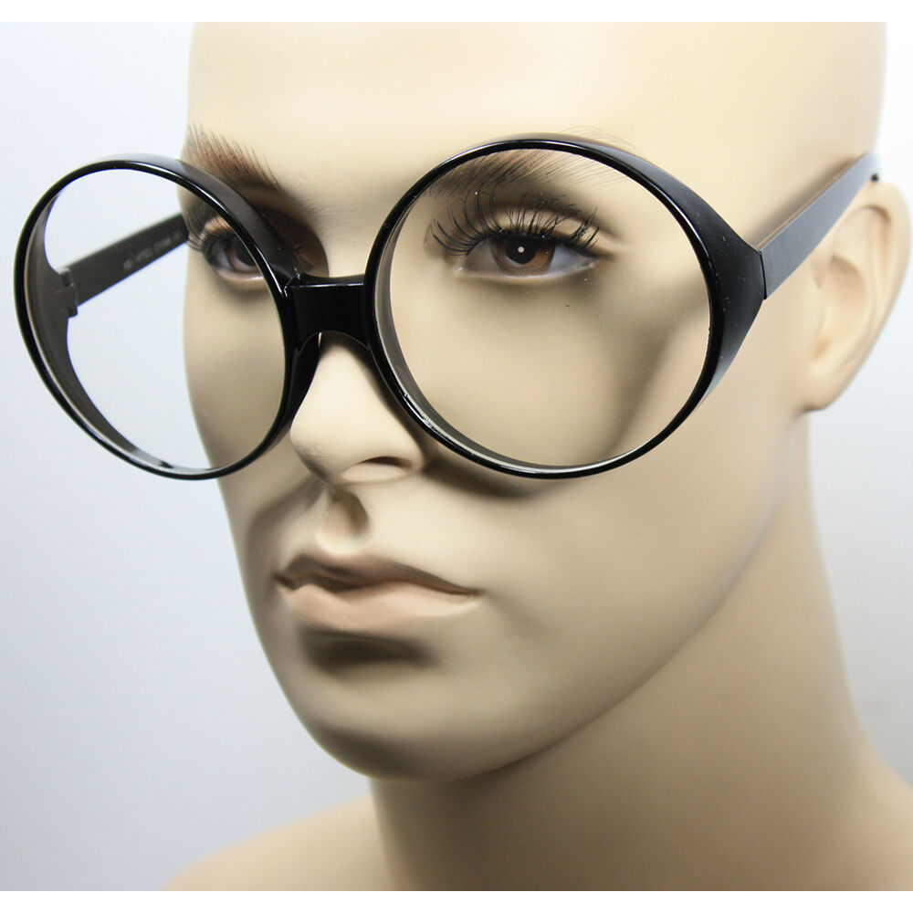 Women Vintage Oval Huge Round Frame Clear Lens Fashion ...