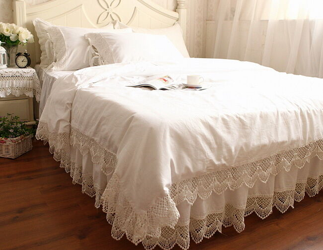 Victorian Style White Wide Crochet Lace Nice Cotton Duvet