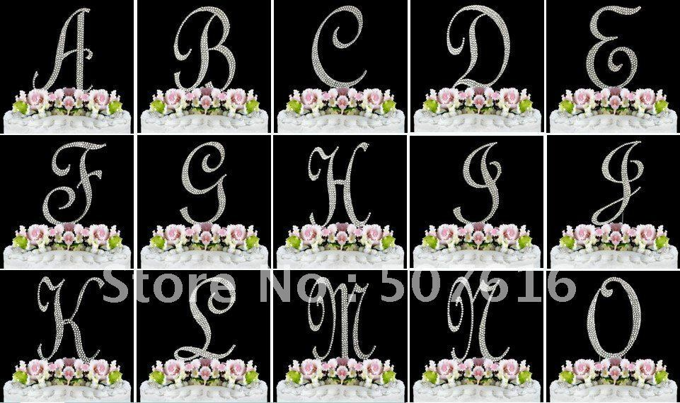 Cake Toppers Letters : Rhinestone Silver Monogram Letter Cake Topper A-Z eBay