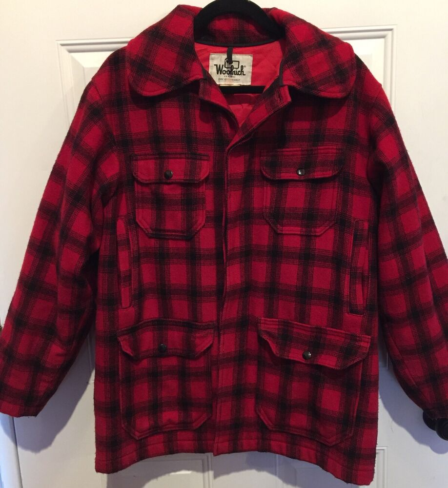 Vintage woolrich red black buffalo plaid hunting winter for Mens red wool shirt