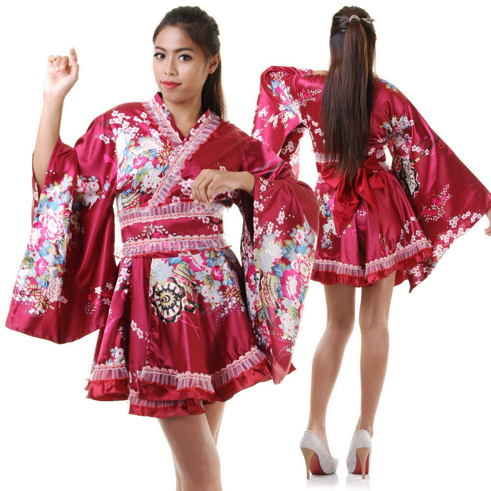 japan geisha yukata cosplay lolita kimono kleid morgenmantel asia kost m satin ebay. Black Bedroom Furniture Sets. Home Design Ideas