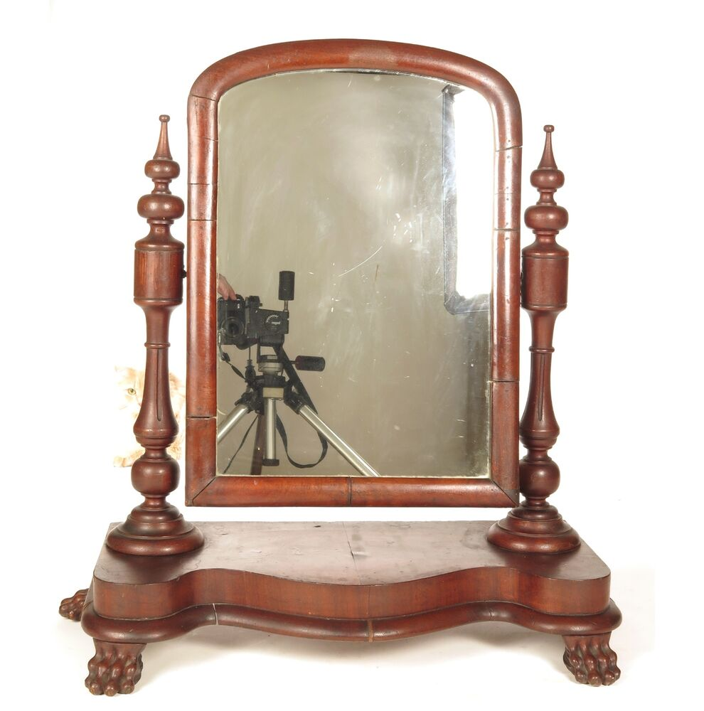 Antique shaving mirror dresser empire mahogany 19th c for Shaving mirror