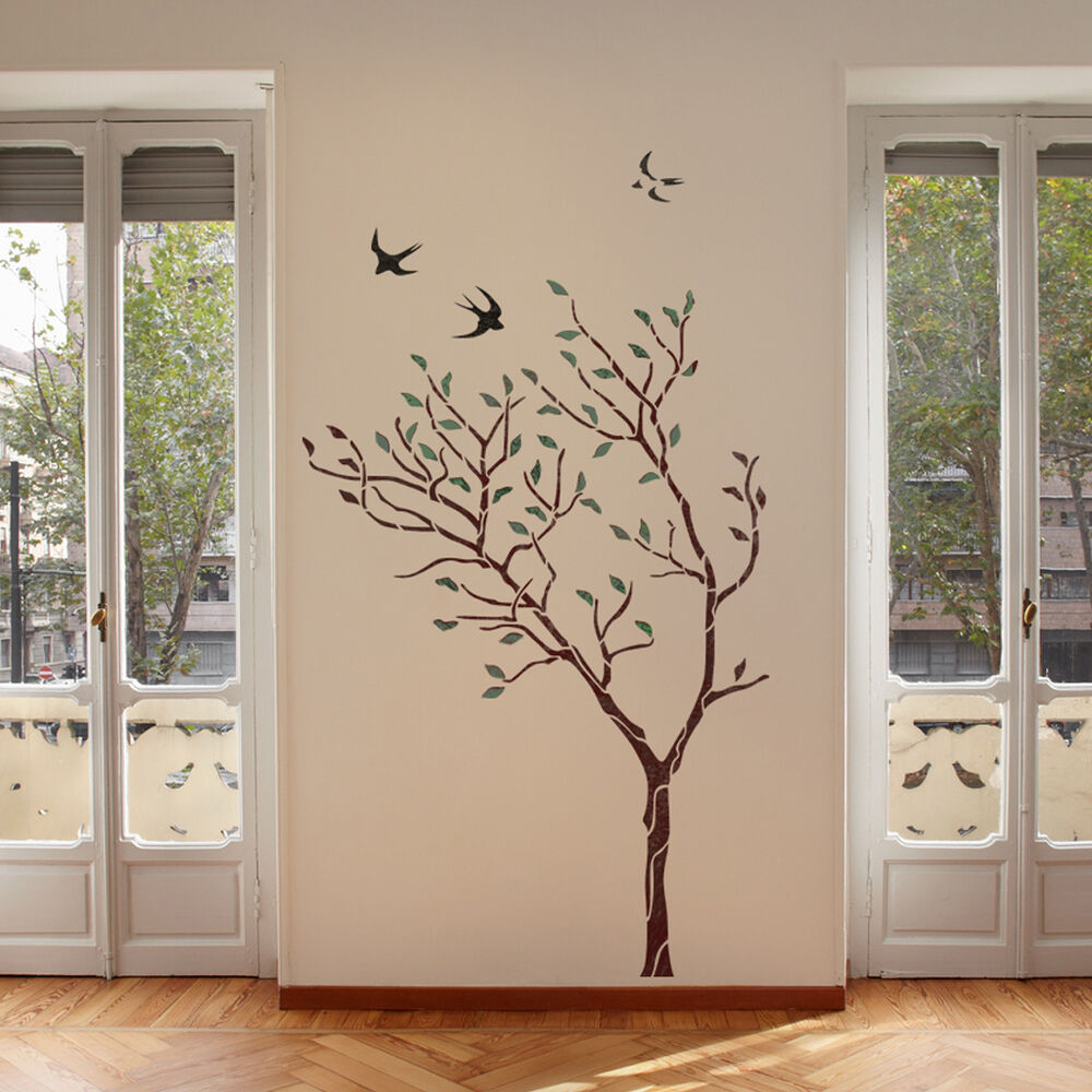 large tree with birds wall stencil reusable stencil for. Black Bedroom Furniture Sets. Home Design Ideas