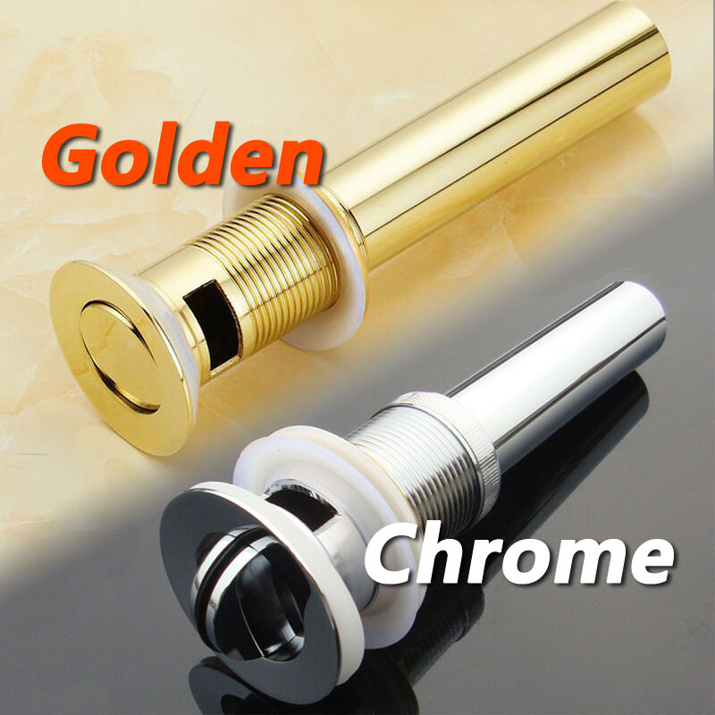 Gold Or Chrome Pop Up Drain Basin Sink Waste Push Button Plug With Overflow Ebay