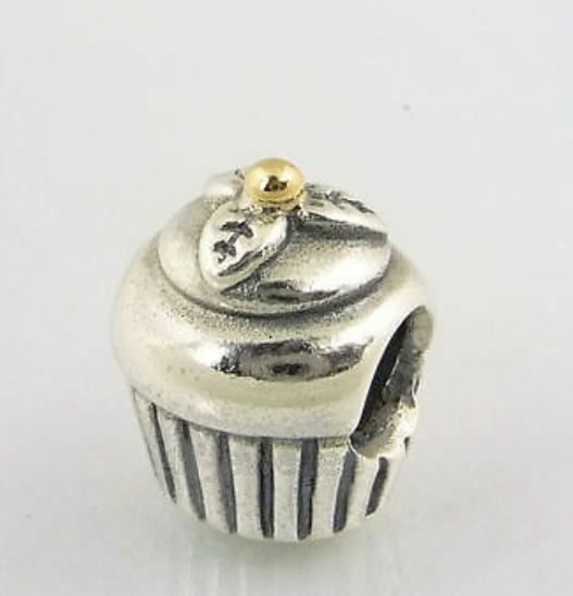 pandora charm cupcake sterling silver with 14k gold 925