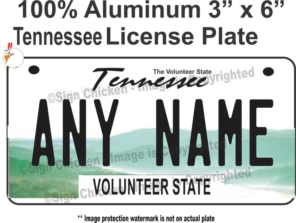 CUSTOM BICYCLE MINI STATE LICENSE PLATE - TENNESSEE- personalized ...