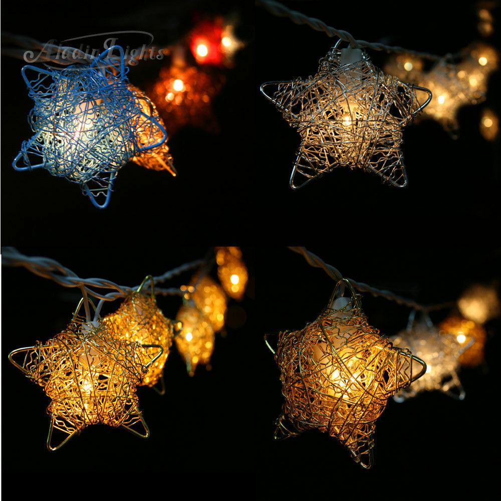GaiaShine 20 Silver/Gold Stars String Fairy Lights Home/Kid s Room Decoration UK eBay