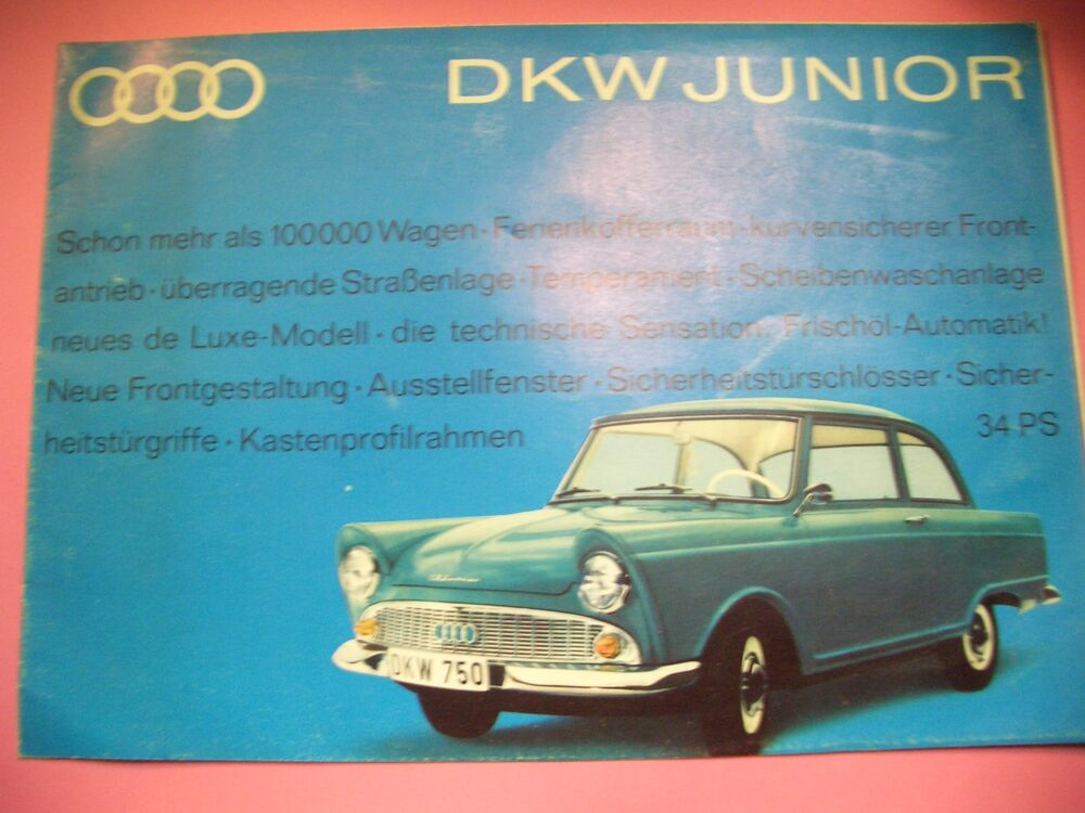 altes prospekt poster plakat auto union dkw junior de luxe. Black Bedroom Furniture Sets. Home Design Ideas