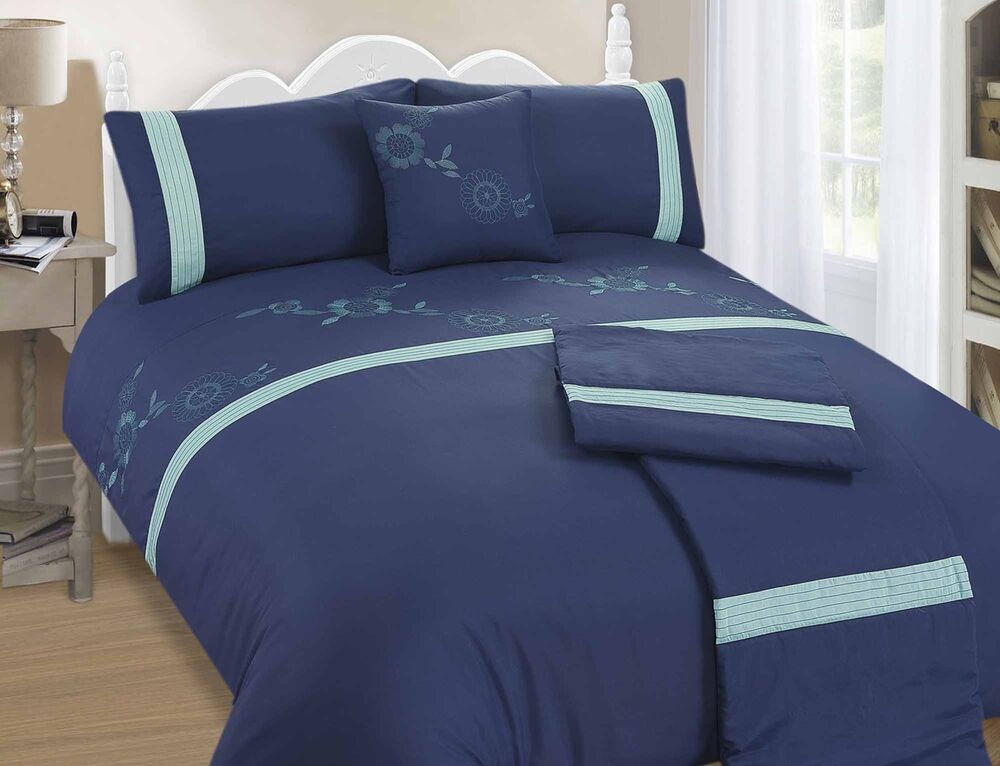 bali navy and teal 5 piece bed in a bag duvet cover set king size free p p ebay. Black Bedroom Furniture Sets. Home Design Ideas