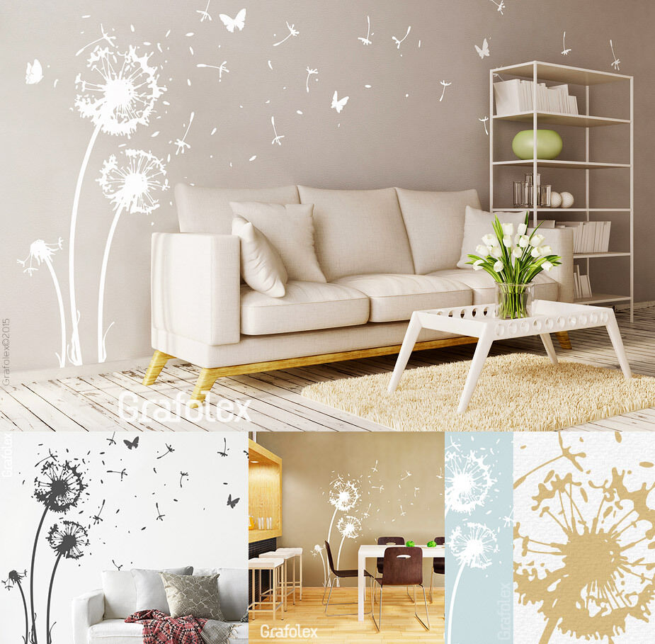 wandtattoo pusteblume wandsticker aufkleber l wenzahn blume wohnzimmer w311 ebay. Black Bedroom Furniture Sets. Home Design Ideas