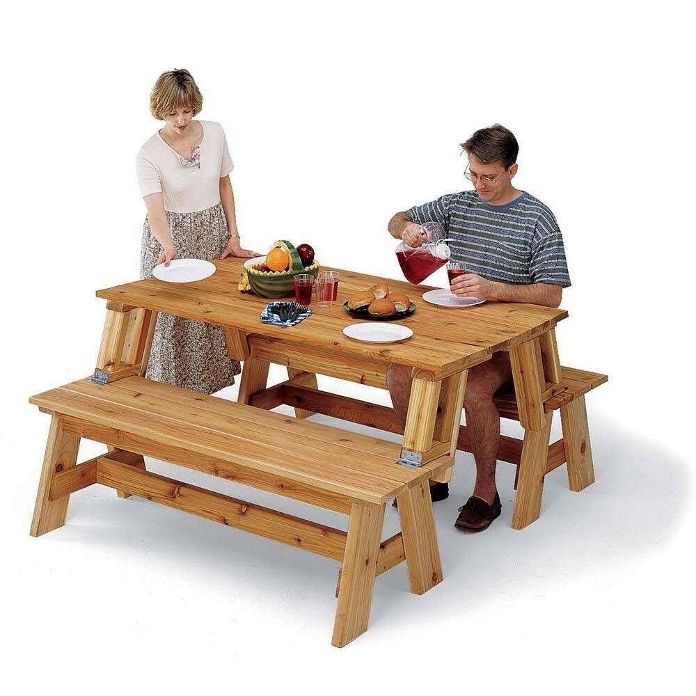 Picnic Table / Bench Combo Plan - Media Woodworking Plans Outdoor ...