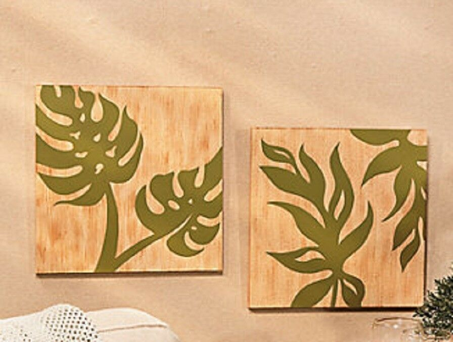 Tropical palm leaf wall art botanical leaves home decoration set of 2 12 sq ebay - What is wall decor ...