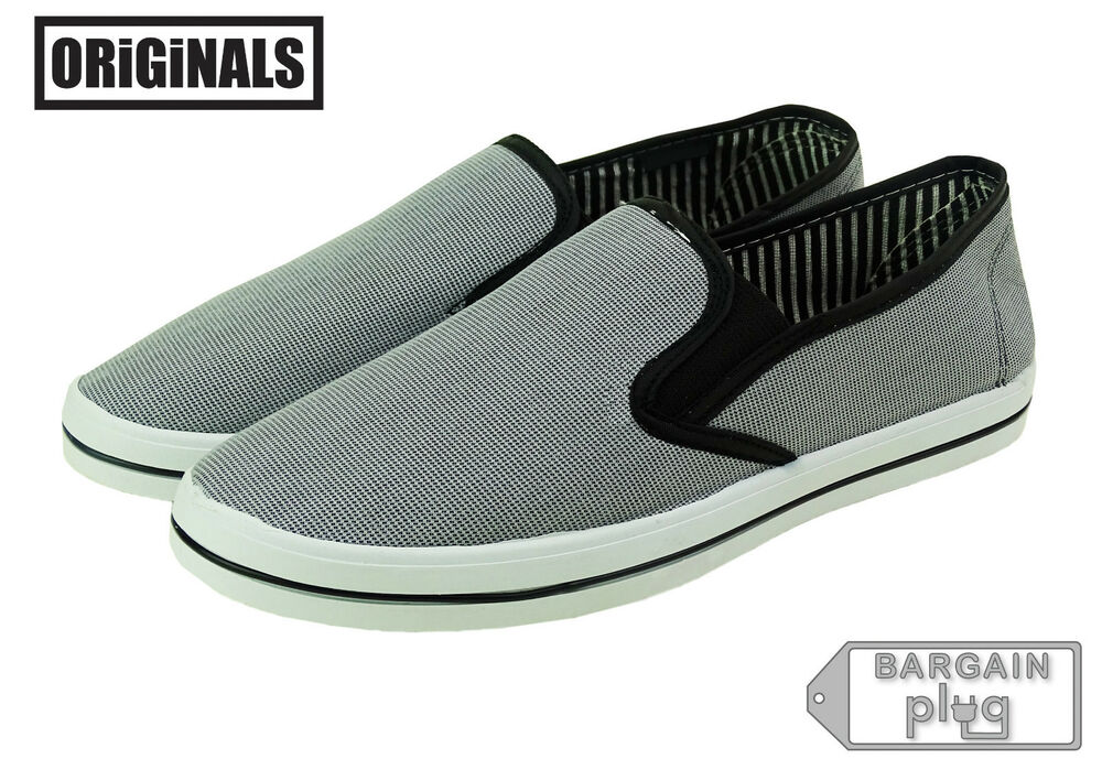 gray canvas shoes mens slip on casual sneakers kicks