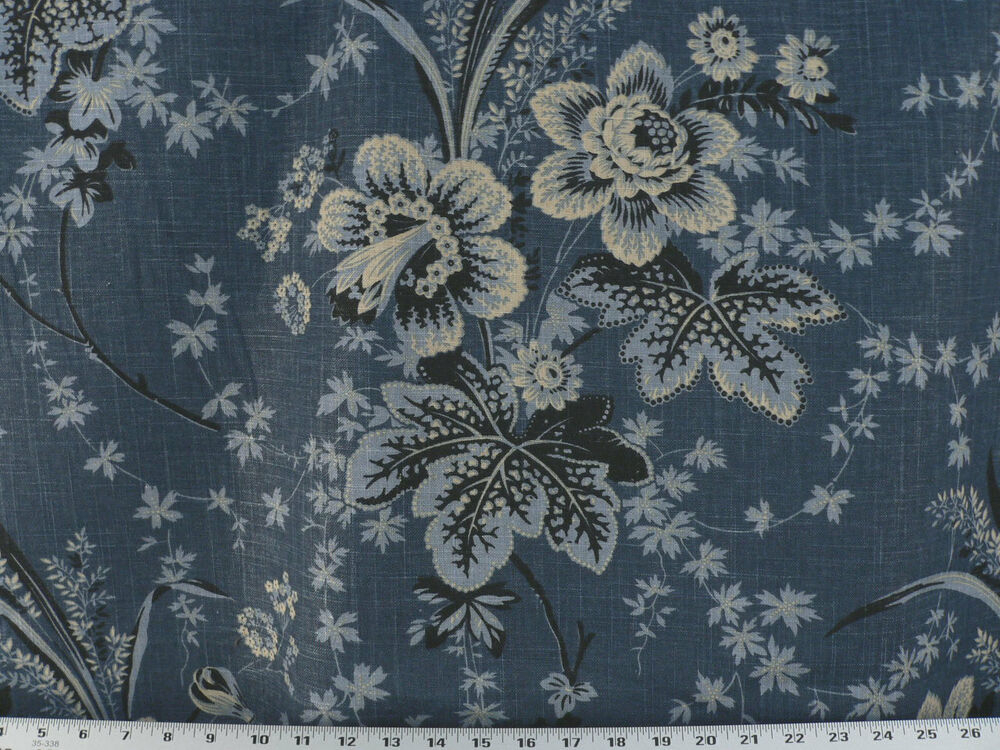 Drapery upholstery apparel fabric mottled floral denim for Apparel fabric