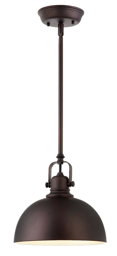oil rubbed bronze 1 light mini pendant with metal shade