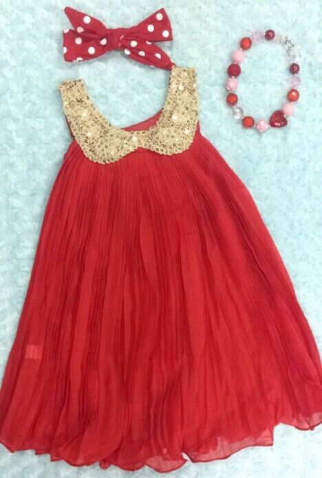 Christmas girls outfit valentines dress chunky bead bow knot set lot