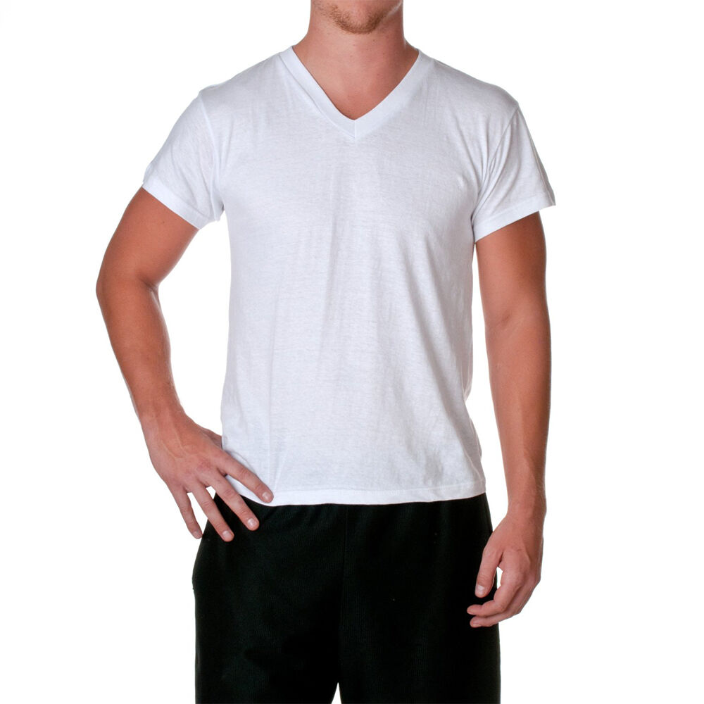 3 Pk Men 39 S Plain White V Neck T Shirts 100 Cotton Tee