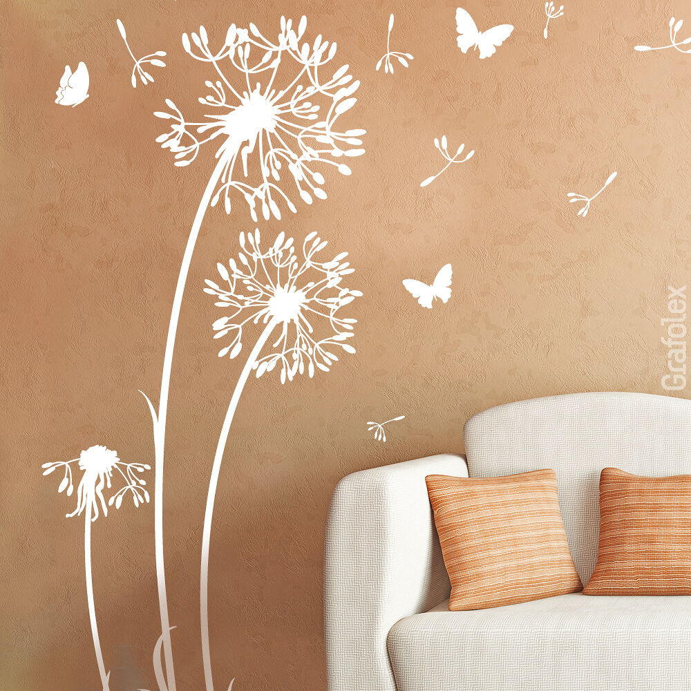 wandtattoo wandsticker aufkleber pusteblume l wenzahn blume schmeterlinge w312 ebay. Black Bedroom Furniture Sets. Home Design Ideas