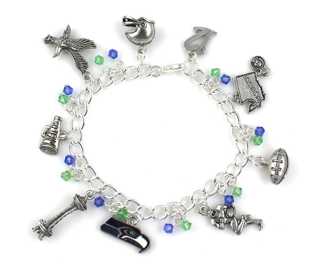 Seattle seahawks football themed charm bracelet with blue for Sell gold jewelry seattle