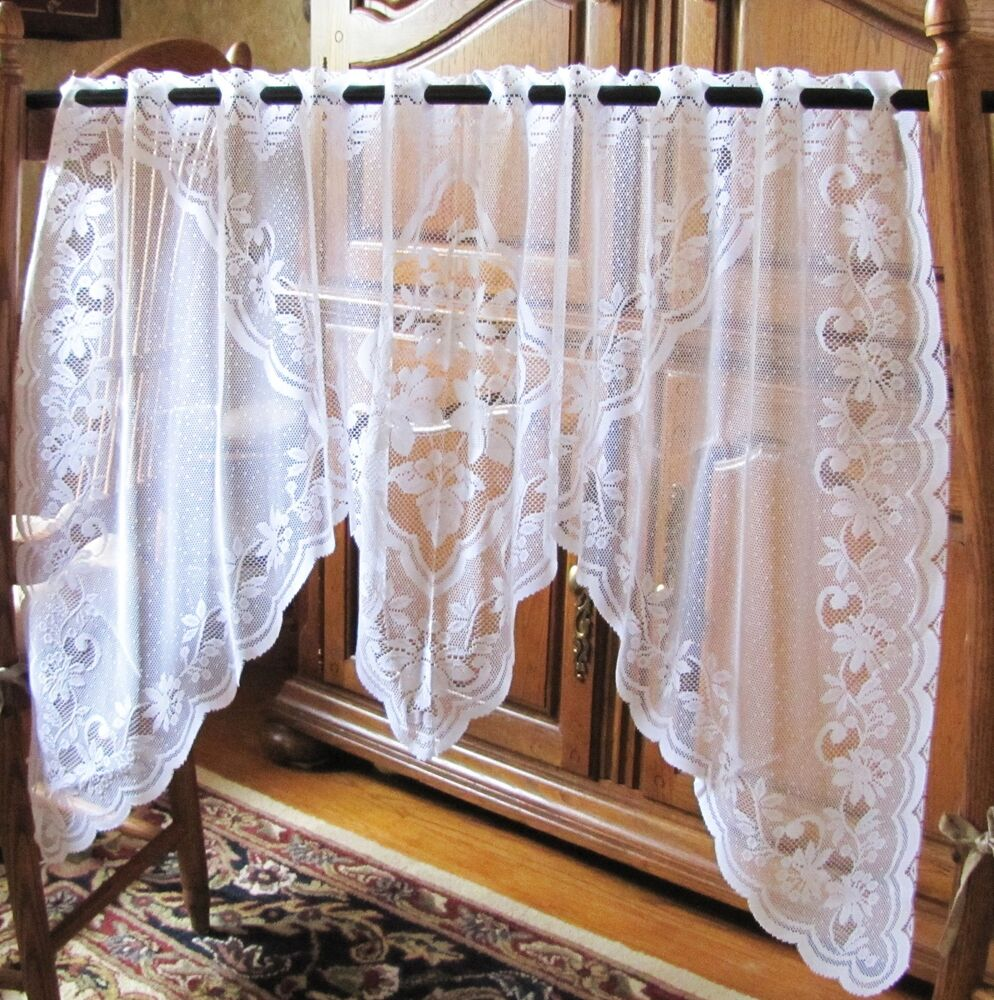 new white 100 polyester german contoured lace curtain valance 29 x 55 ebay. Black Bedroom Furniture Sets. Home Design Ideas