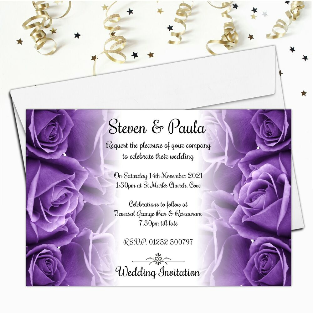 Wedding Invitations Rose: 10 Personalised Purple Roses Wedding Invitations Invites