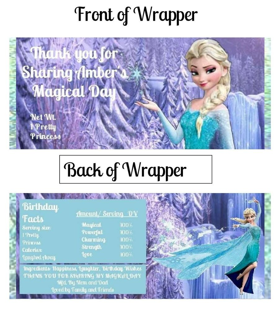 6 Disney Frozen Hershey Candy Bar Label Wrapper Party