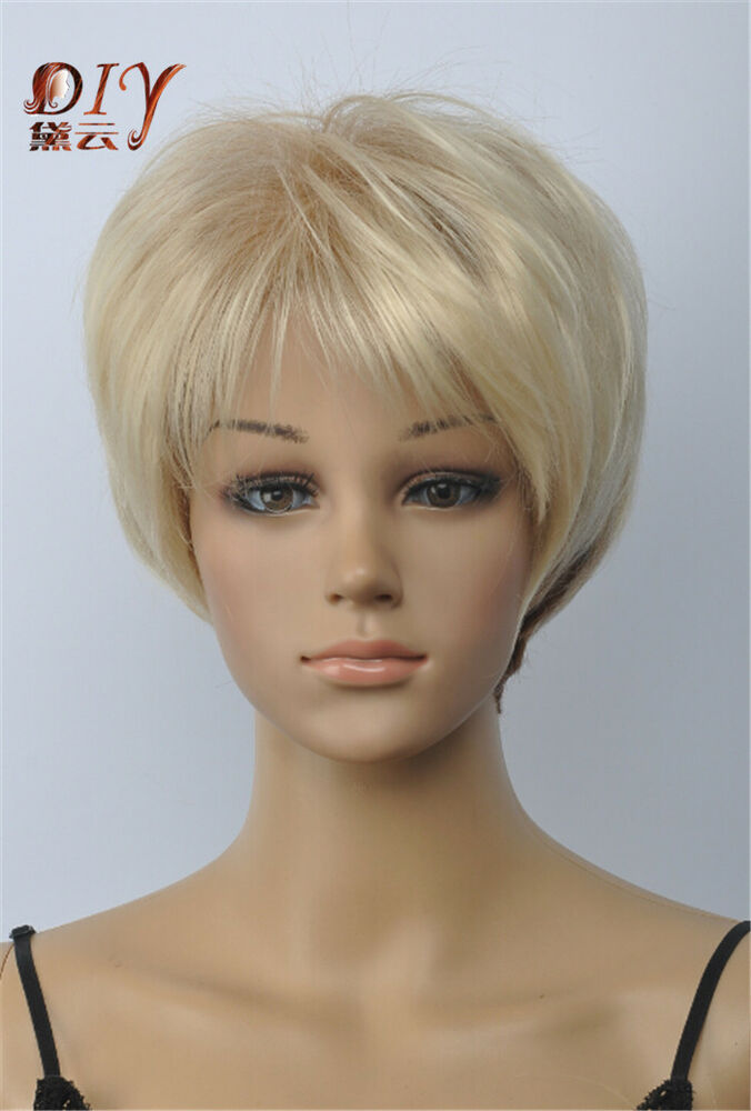 New Women Light Blonde Straight Bangs Cosplay Short