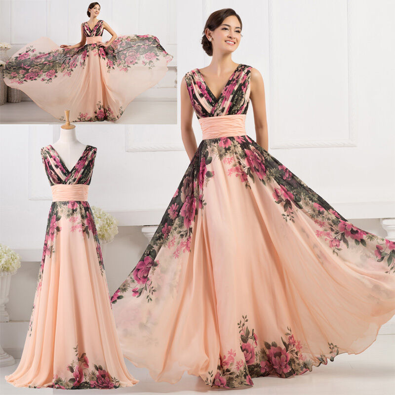 chiffon long maxi bridesmaid evening formal ball gown prom party dress plus size ebay. Black Bedroom Furniture Sets. Home Design Ideas