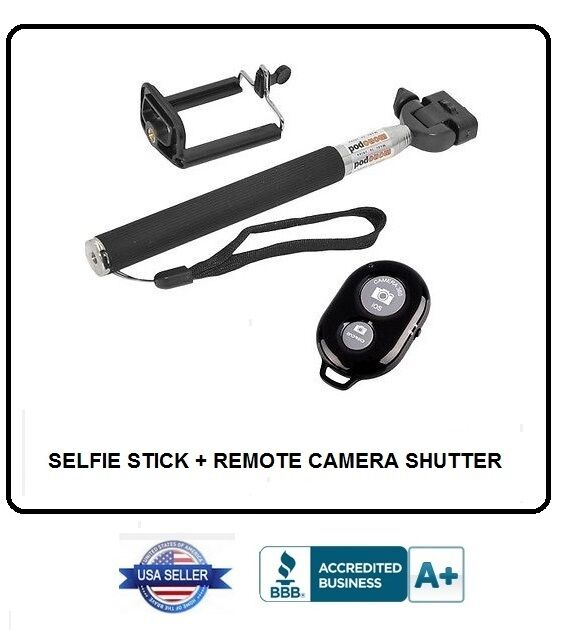 selfie stick extendable handheld monopod adjustable phone holder and shut. Black Bedroom Furniture Sets. Home Design Ideas