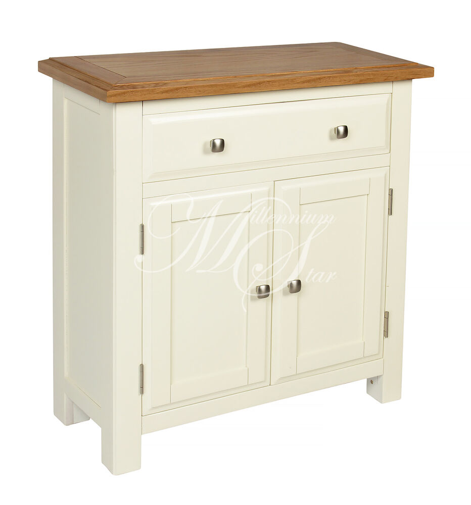 Ivory painted oak small sideboard cupboard cabinet ebay for Painted buffet sideboard