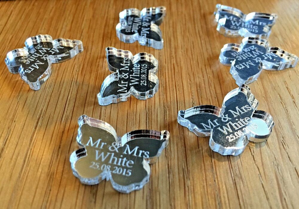 Personalised wedding table decorations favours confetti silver mr personalised wedding table decorations favours confetti silver mr mrs butterflys ebay junglespirit Images