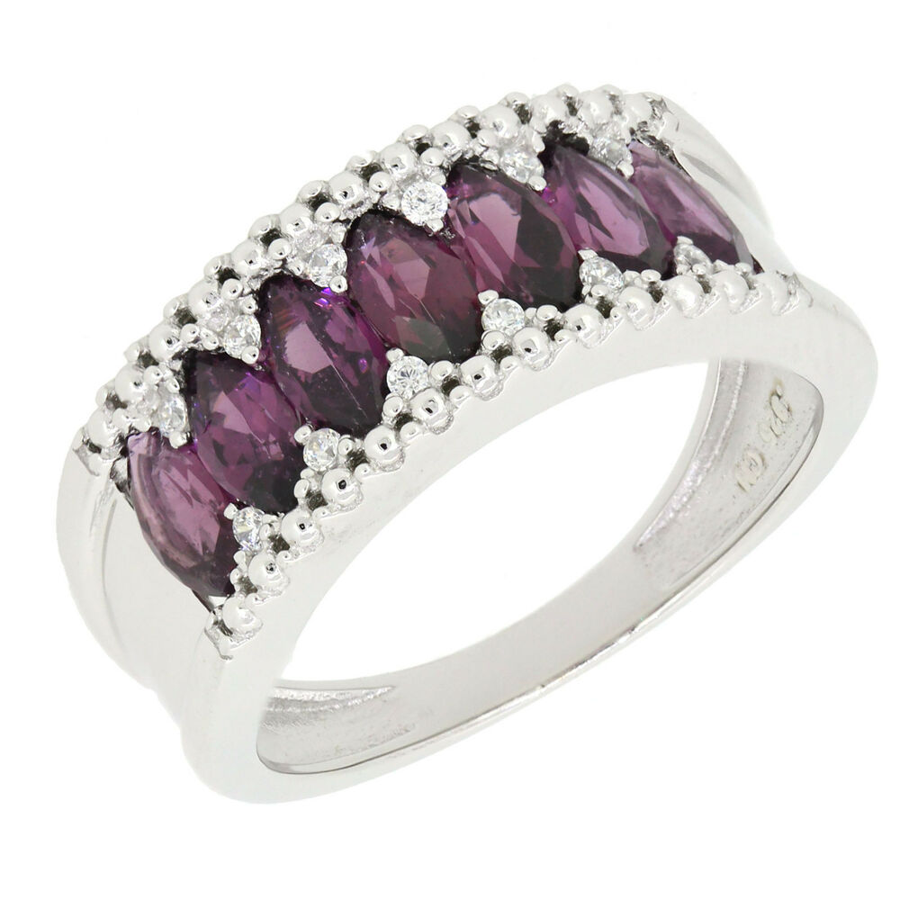 Garnet Ring Bands: Genuine Purple Red Rhodolite Garnet Marquise Multi-Stone