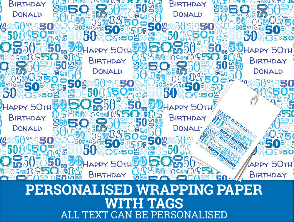 Personalised Happy 50th Birthday Wrapping Paper Male