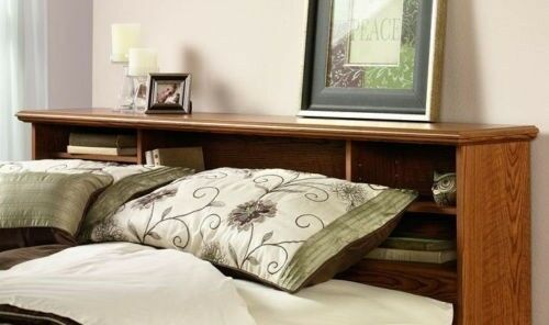 bookcase headboard oak wood full queen size bed bedroom. Black Bedroom Furniture Sets. Home Design Ideas