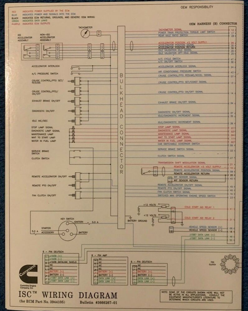 2001 dodge ram cummins wiring diagram cummins wiring diagram cummins laminated isc foldout wiring diagram | ebay
