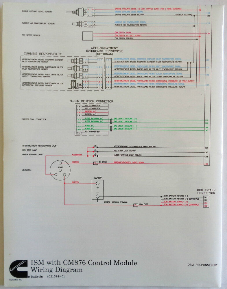 Cummins Laminated Ism With Cm876 Control Module Wiring Diagram