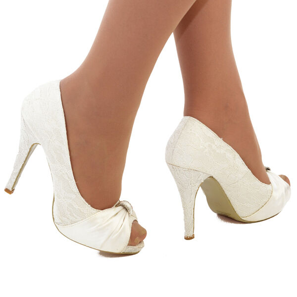 wedding shoes size 12 new ivory satin n lace wedding bridal high heel platform 1134