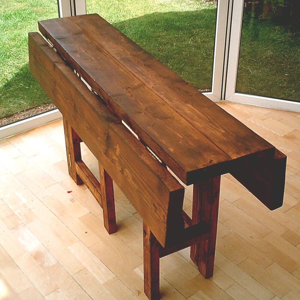 New Hand Made Rustic Drop Leaf Kitchen Dining Table In Thick Solid Wood Ebay