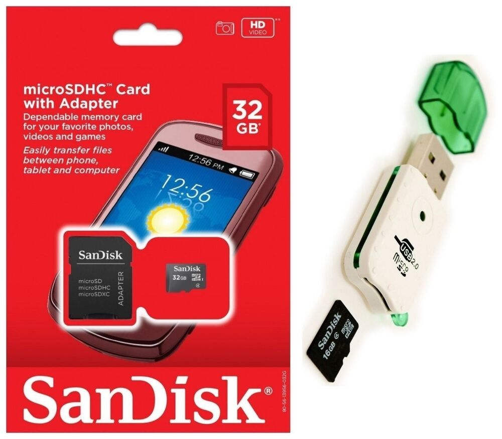 sandisk 32gb micro sd sdhc microsd flash memory with. Black Bedroom Furniture Sets. Home Design Ideas