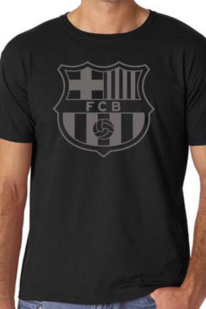 black barcelona fc soccer t shirt custom ebay. Black Bedroom Furniture Sets. Home Design Ideas