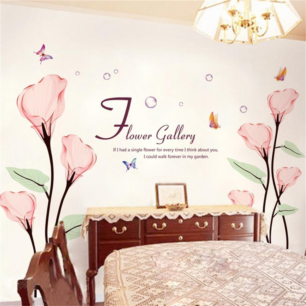 Removable Romantic Lily Flower Bedroom Wall Stickers Home Decal Decor