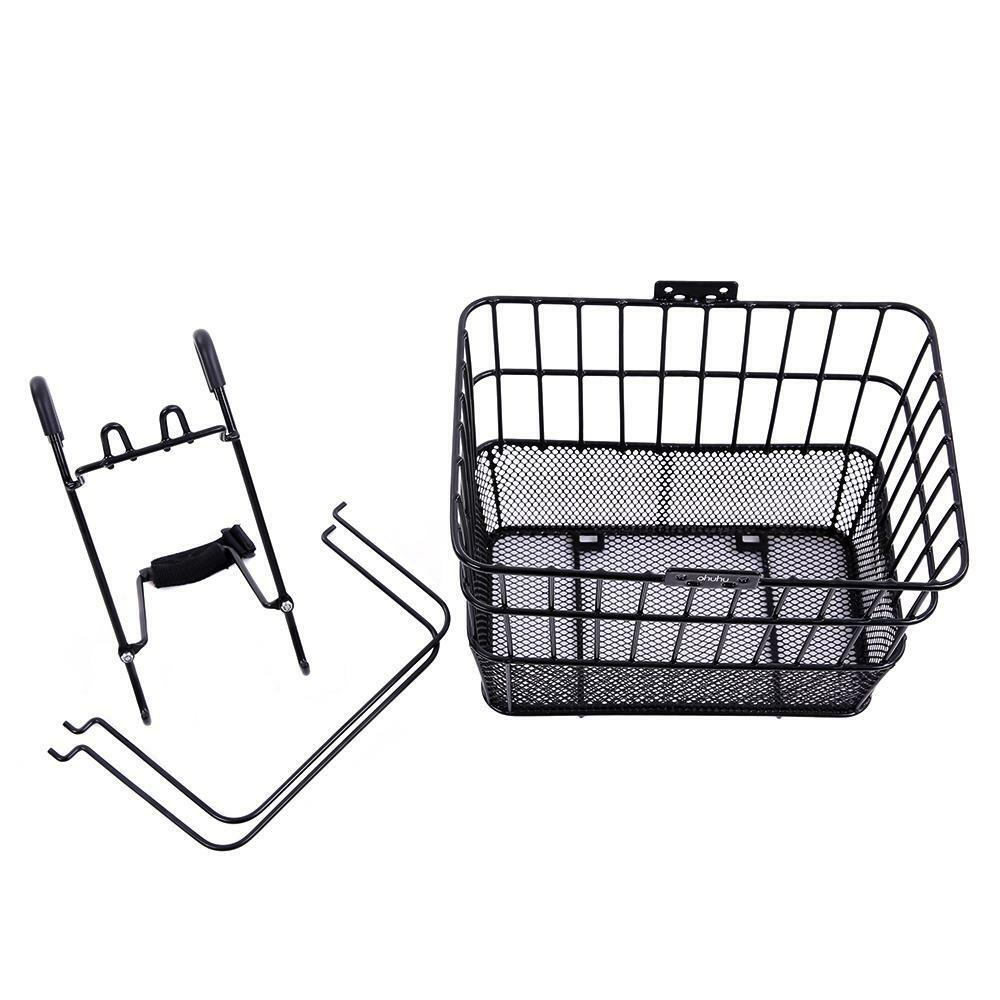 new bicycle bike front lift off basket wire mesh large w mounting hooks black ebay. Black Bedroom Furniture Sets. Home Design Ideas