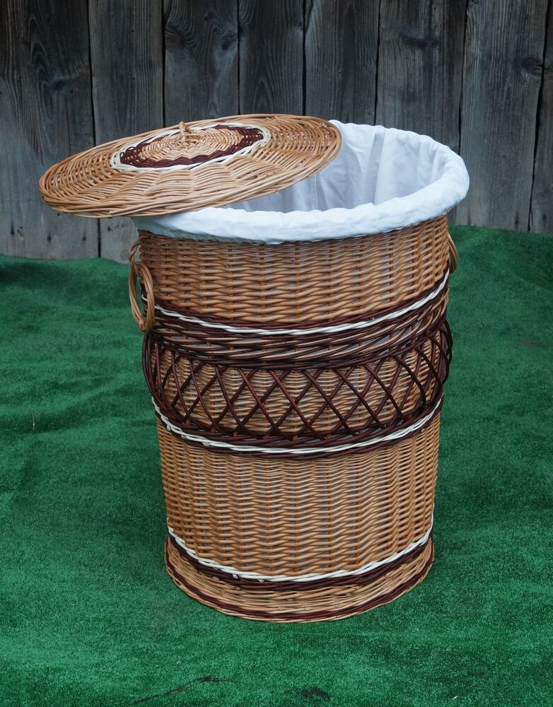 Lidded Lined Wicker Willow Laundry Bin Storage Basket H 29